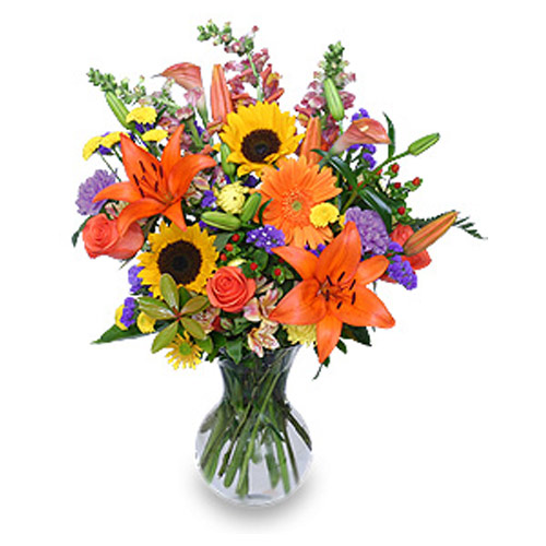 Design contains orange roses, orange Asiatic lilies, rust calla lilies, sunflowers and purple carnations, yellow button poms, red & yellow alstroemeria, purple statice, yellow dahlia, pink & orange snapdragons, red hypericum berries, pittosporum, & leather leaf in a clear vase.<br/><br/>